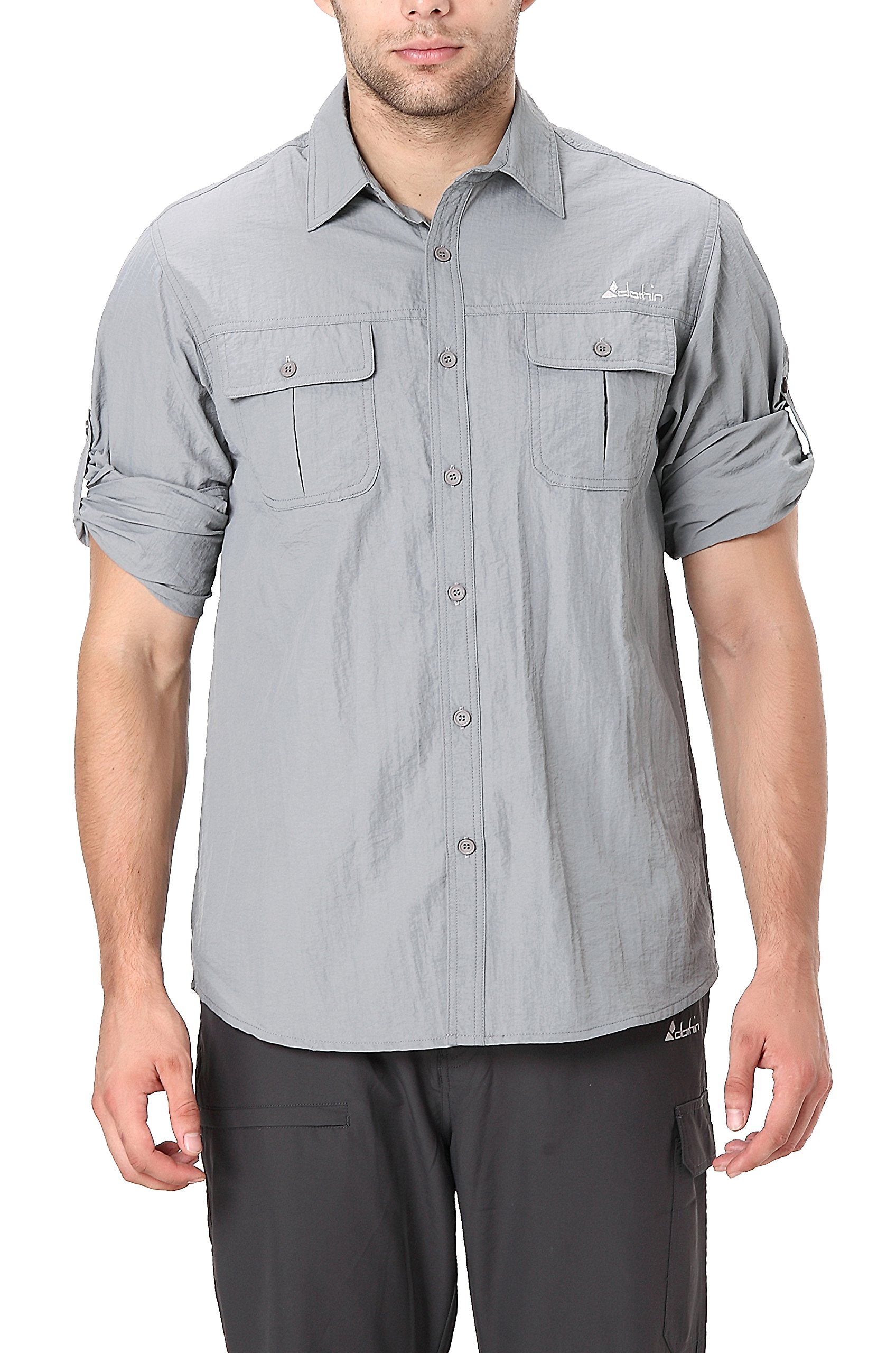 Clothin Men's Roll-Up Long Sleeve Vented Shirt - Lightweight Cooling Quick-Dry,Grey,Medium