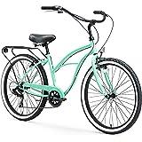 sixthreezero Around The Block Women's Beach Cruiser Bicycle, 7-speed, 26-Inch, Mint Green with Black Seat and Grips