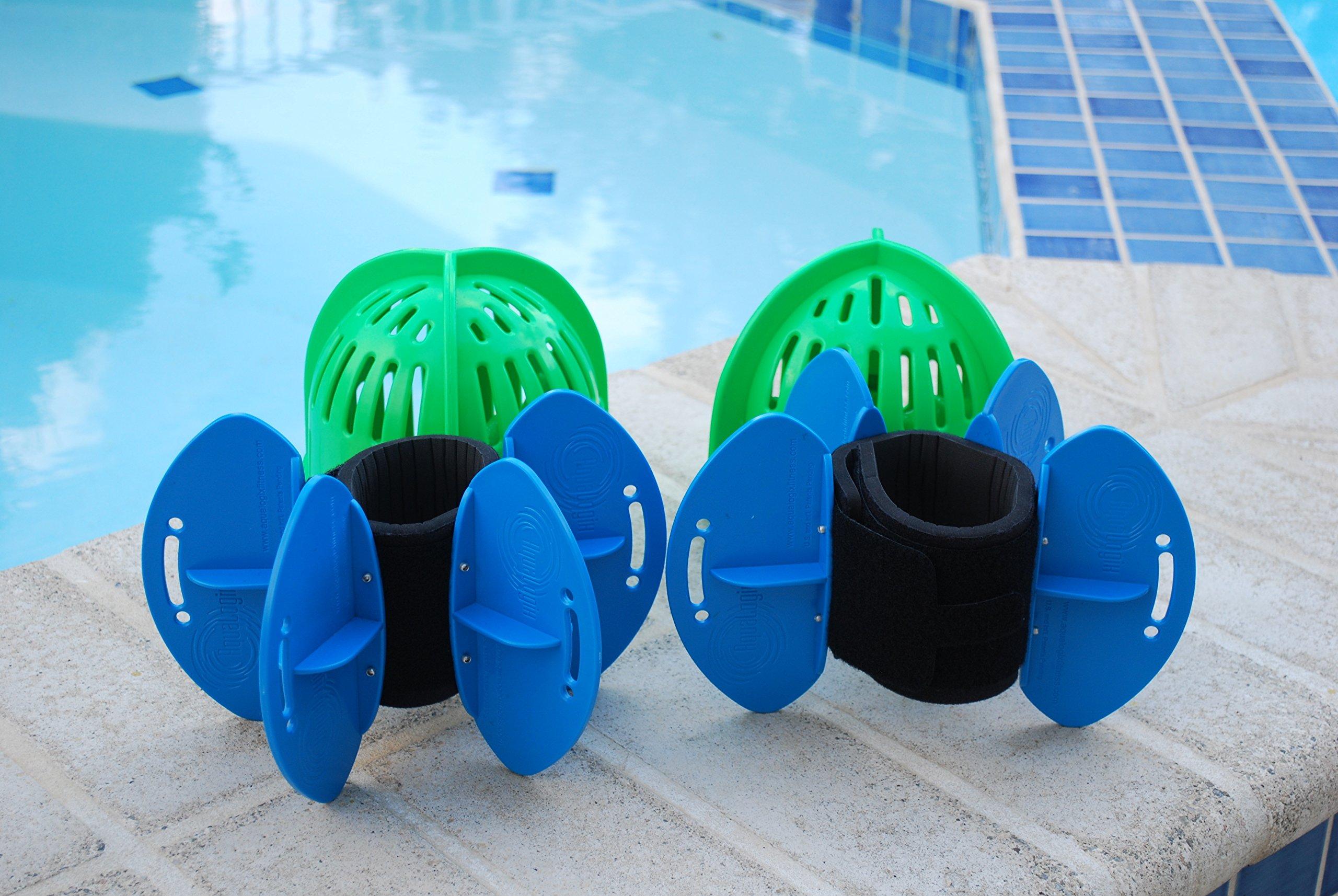 Aqualogix Total Body Aquatic Exercise System (High Speed Green Bells/Maximum Resistance Blue Fins) by AquaLogix