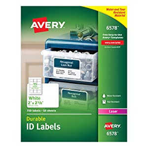 "Avery Durable White Cover Up ID Labels for Laser Printers, 2"" x 2.625"",Pack of 750 (6578)"