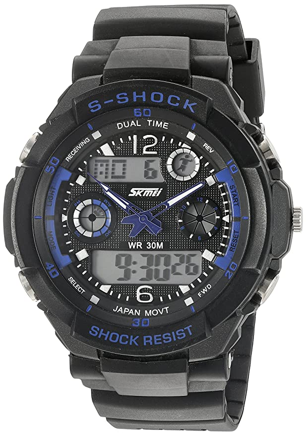Amazon.com: SKMEI Multi Function Military S-shock Sports Watch LED Analog Digital Waterproof Alarm (Blue): Watches