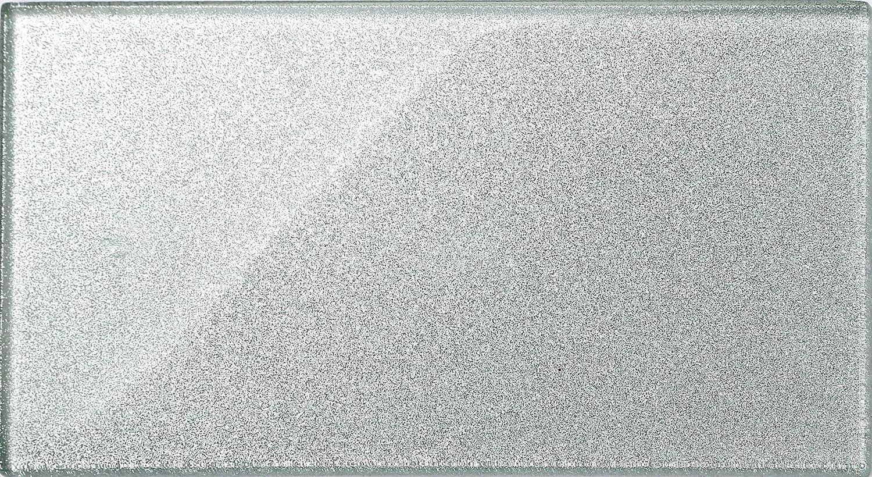 MT0075 Glas Fliese im Ziegelstein Format Silber mit Glitzer Fliese ist 15cm x 30cm Die St/ärke betr/ägt 8mm