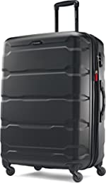 Samsonite Omni PC Hardside Expandable Luggage with Spinner Wheels, Black, Checked-Large