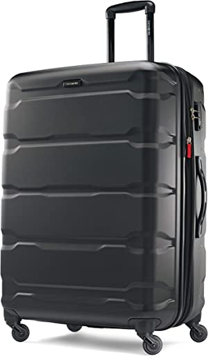 Samsonite Omni PC Hardside Expandable Luggage with Spinner Wheels, Black, Checked-Large 28-Inch