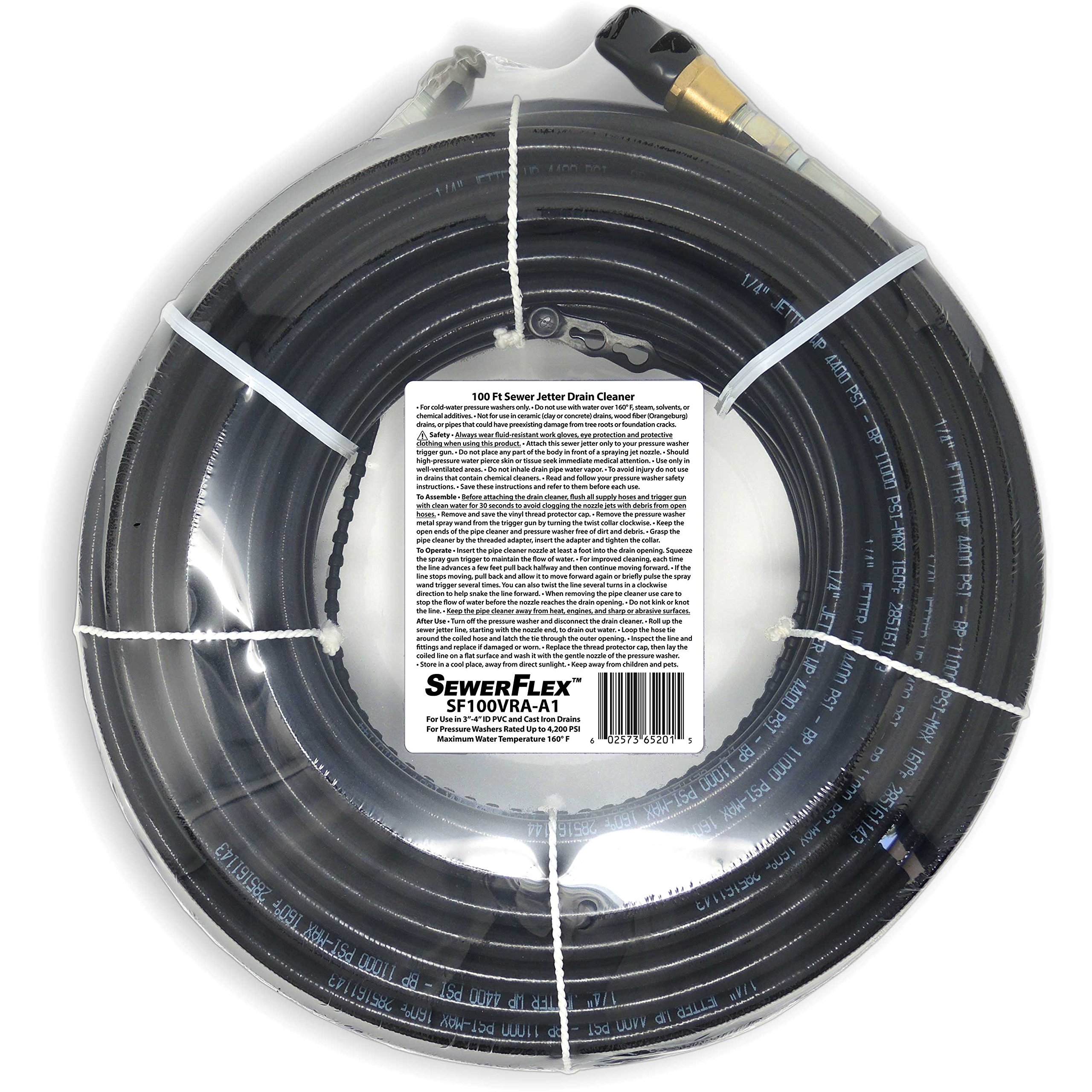SEWER JETTER - 100 FT Drain Cleaner for Your Gas Pressure Washer by SewerFlex