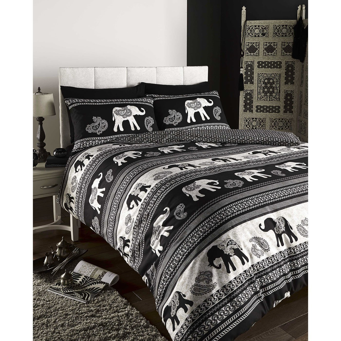 DE CAMA Empire Indian Elephant Animal Duvet Quilt Cover Bedding Set
