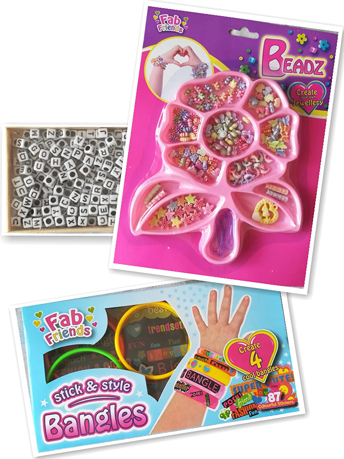 TinyPeeps Bead art and jewellery making kit- includes beads with letters and beads with different shapes, stick&style bangles R&A Synergy