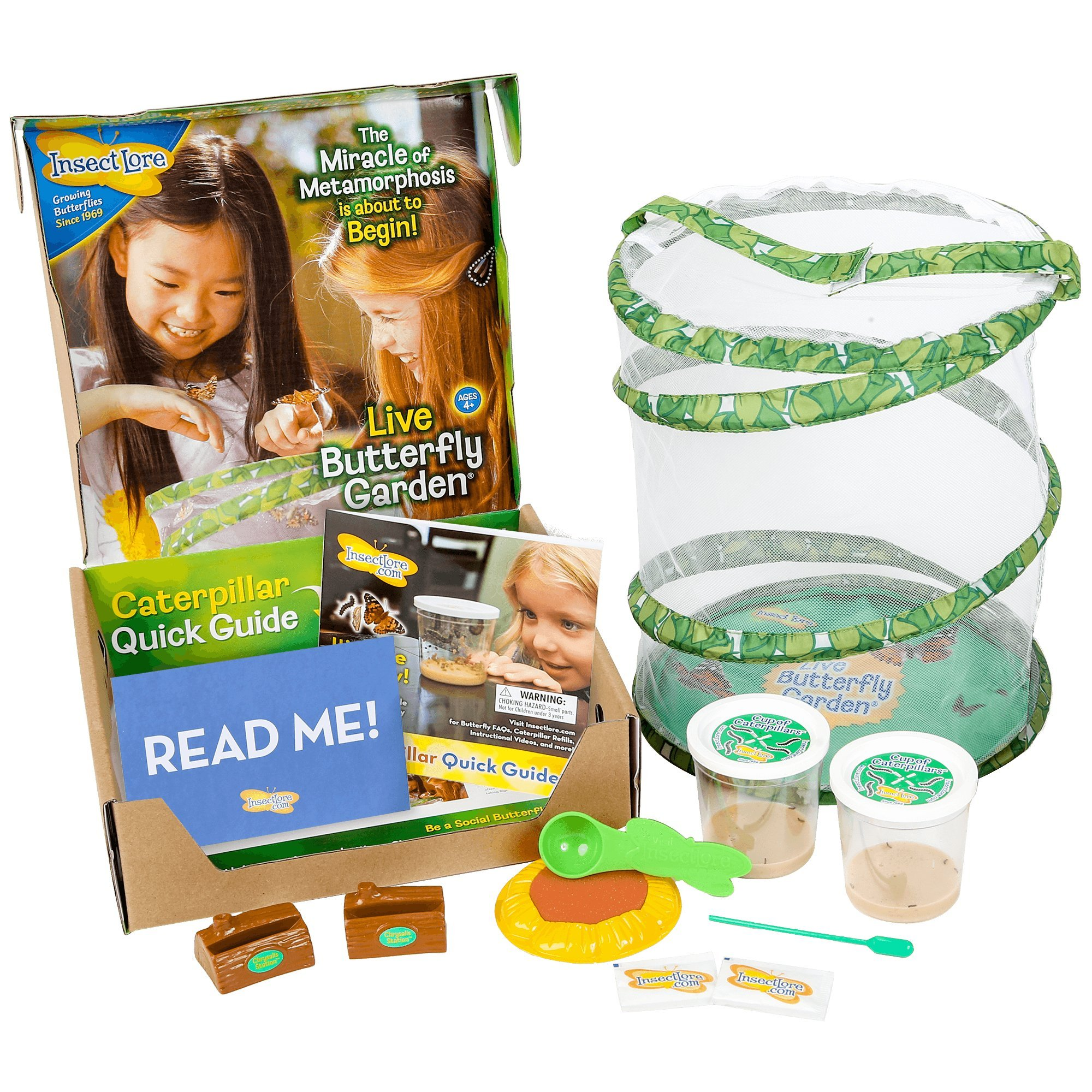 insect lore deluxe butterfly garden with 2 live cups of caterpillars and feeding habitat kit - Live Butterfly Garden