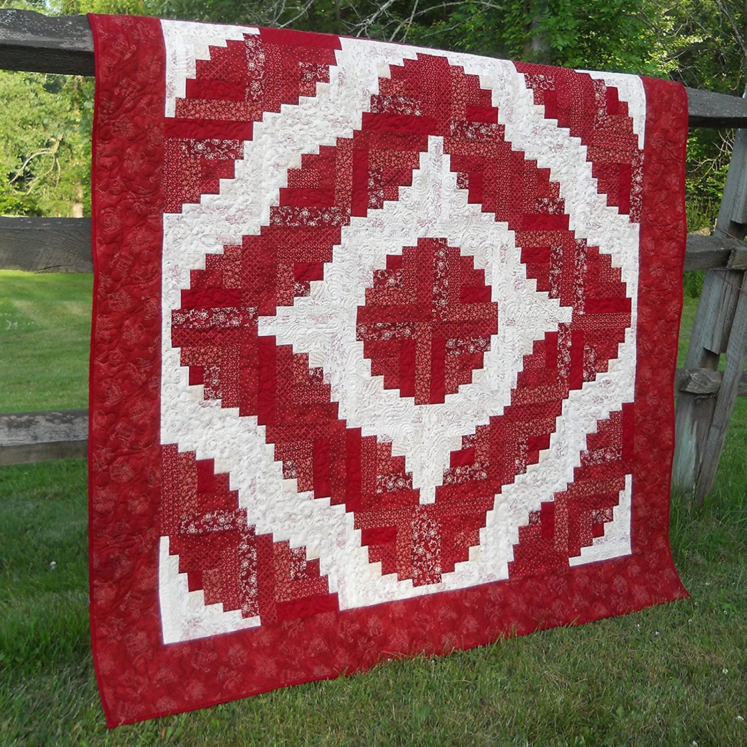 Bundle of Creative Grids Curvy Log Cabin Trim Tool 8in Finished Blocks and Cut Loose Press Squiggles Curvy Log Cabin Quilt Pattern