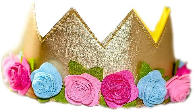Amazon.com: Las niñas Flor Corona Oro De Fieltro Cumpleaños ...
