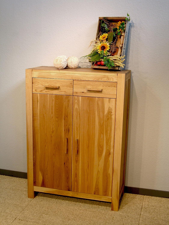 Vertiko aus vollmassiver Wildeiche mit geölter Holzoberfläche; Maße (B/H/T) in cm: 85 x 120 x 38