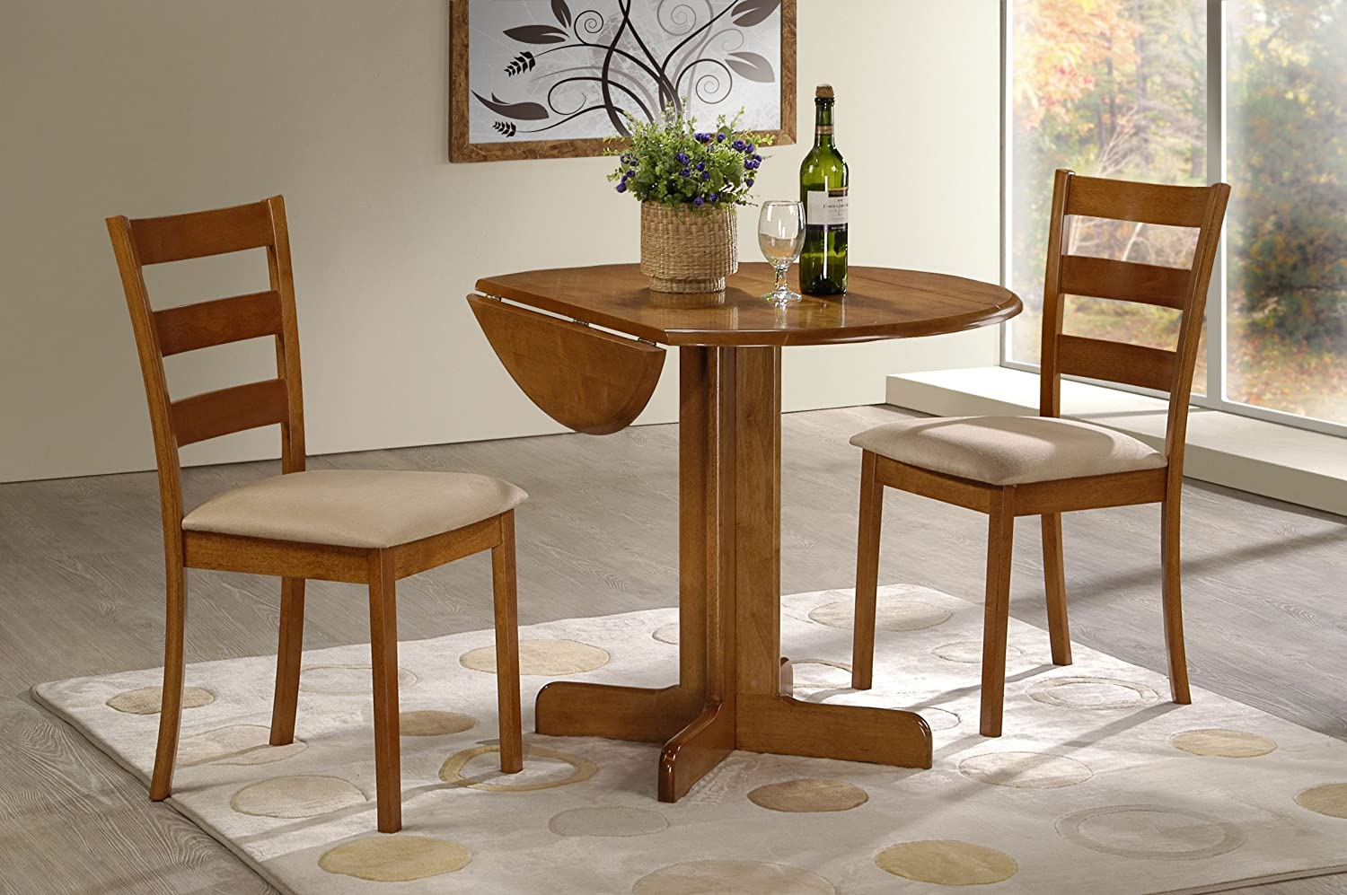 Amazon.com - 3 Piece Dining Set. 36  Drop Leaf Table with Two Chairs All Light Oak Finish - Table u0026 Chair Sets & Amazon.com - 3 Piece Dining Set. 36
