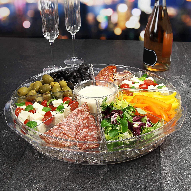 /hielo congelado compartir plato con Dip taza y tapas para aperitivos frescos Sobre Hielo 8/Secci/ón Bandeja para aperitivos/