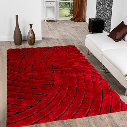 Allstar 8×11 Red Modern and Contemporary Hand Carved Rectangular Shag Accent Rug with Black Geometric Curve Quadrant Stripe Design 7 5 x 10 5