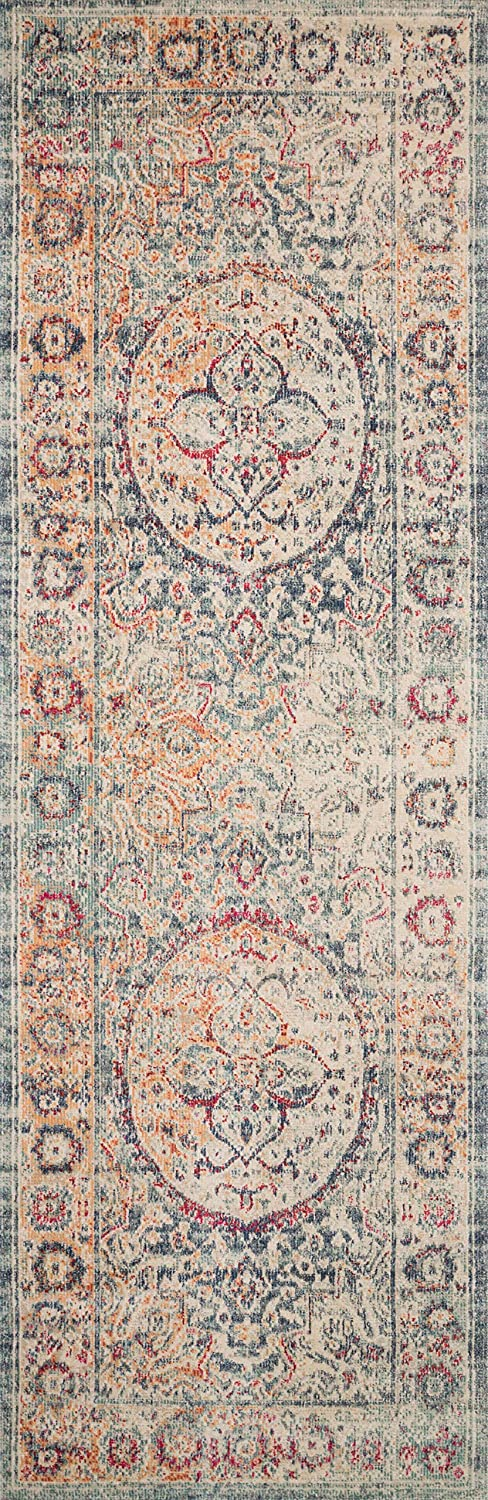 """Loloi II Nour Collection Distressed Persian Area Rug, 2'-7"""" x 8'-0"""" Runner, Blue/Multi"""