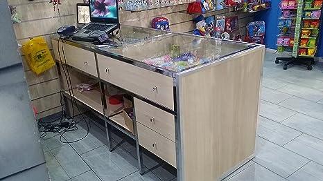 Bancone In Legno Per Negozio : Bancone tavolo cassa per negozio con vetro e cassetti: amazon.it