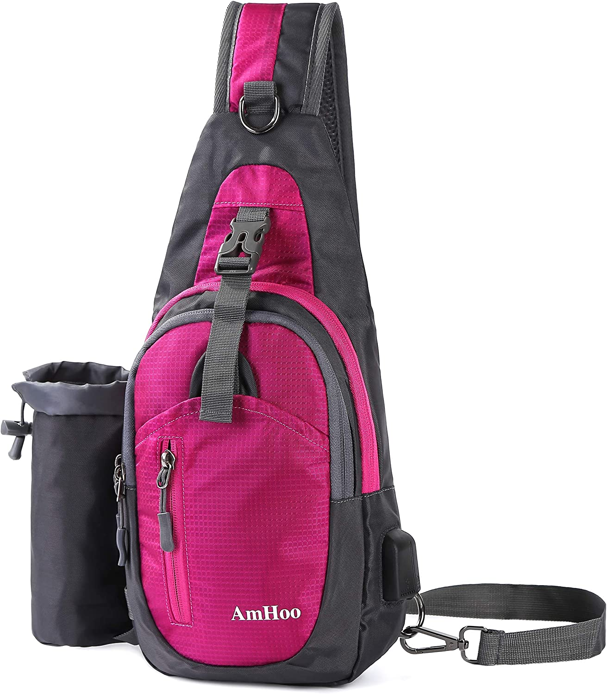 AmHoo Sling Backpack Chest Shoudler Crossbody Bag Waterproof Hiking Daypack Small PurplishRed
