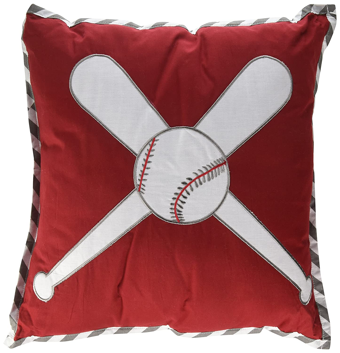 Bacati Baseball Muslin Dec Pillow, Red/Grey