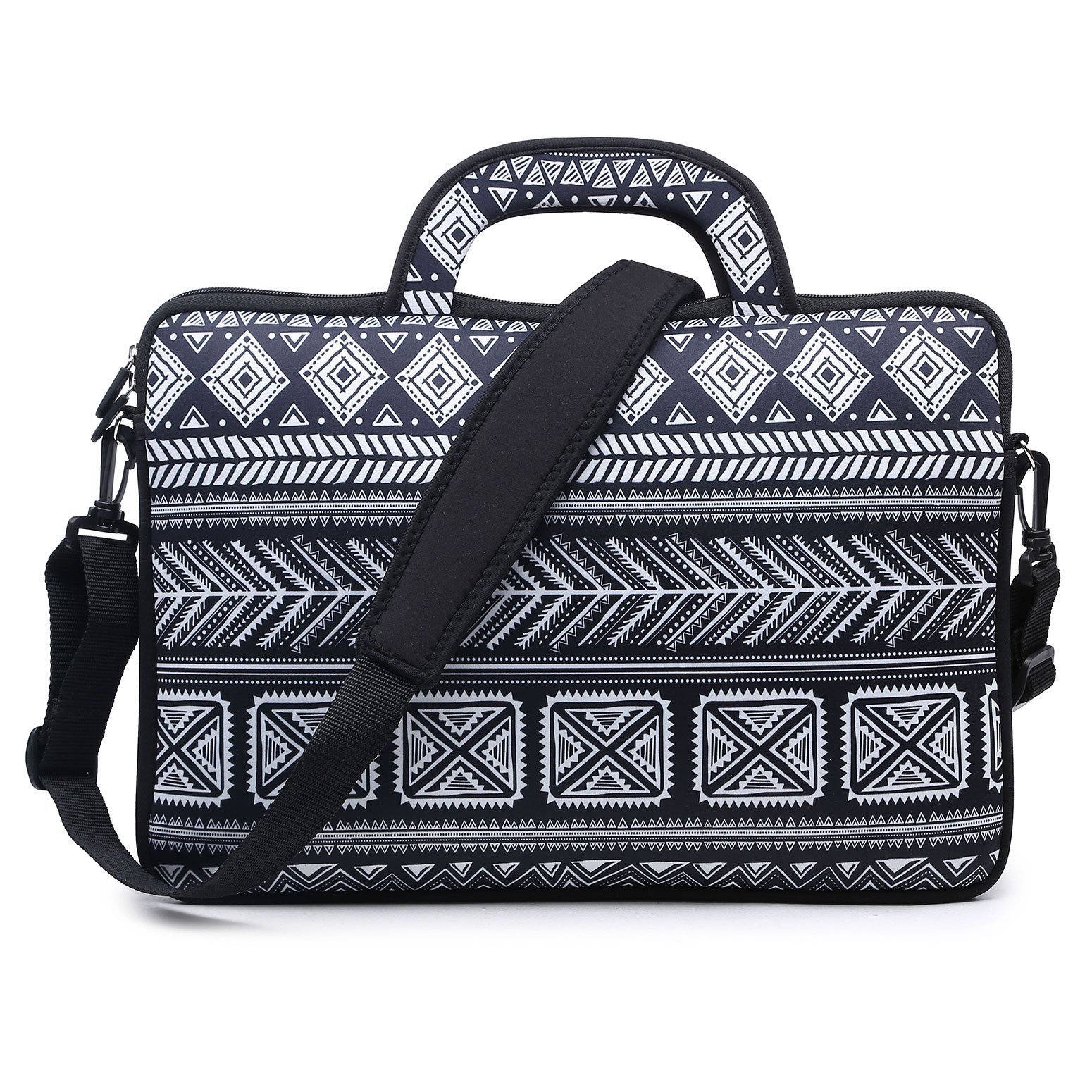 Meffort Inc 15 15.6 inch Water Resistance Neoprene Laptop Briefcase Bag Carrying Case - Black Gary Pattern A