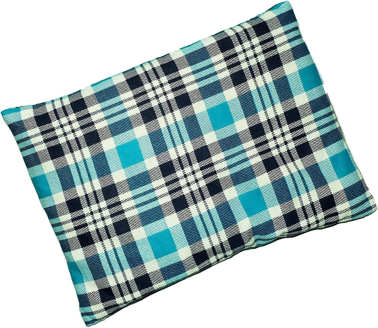 "Microwavable Corn Filled Heating Pad and Cold Pack/Washable 100% Cotton Cover (7.5""Wx11""L, Flannel - Blue)"