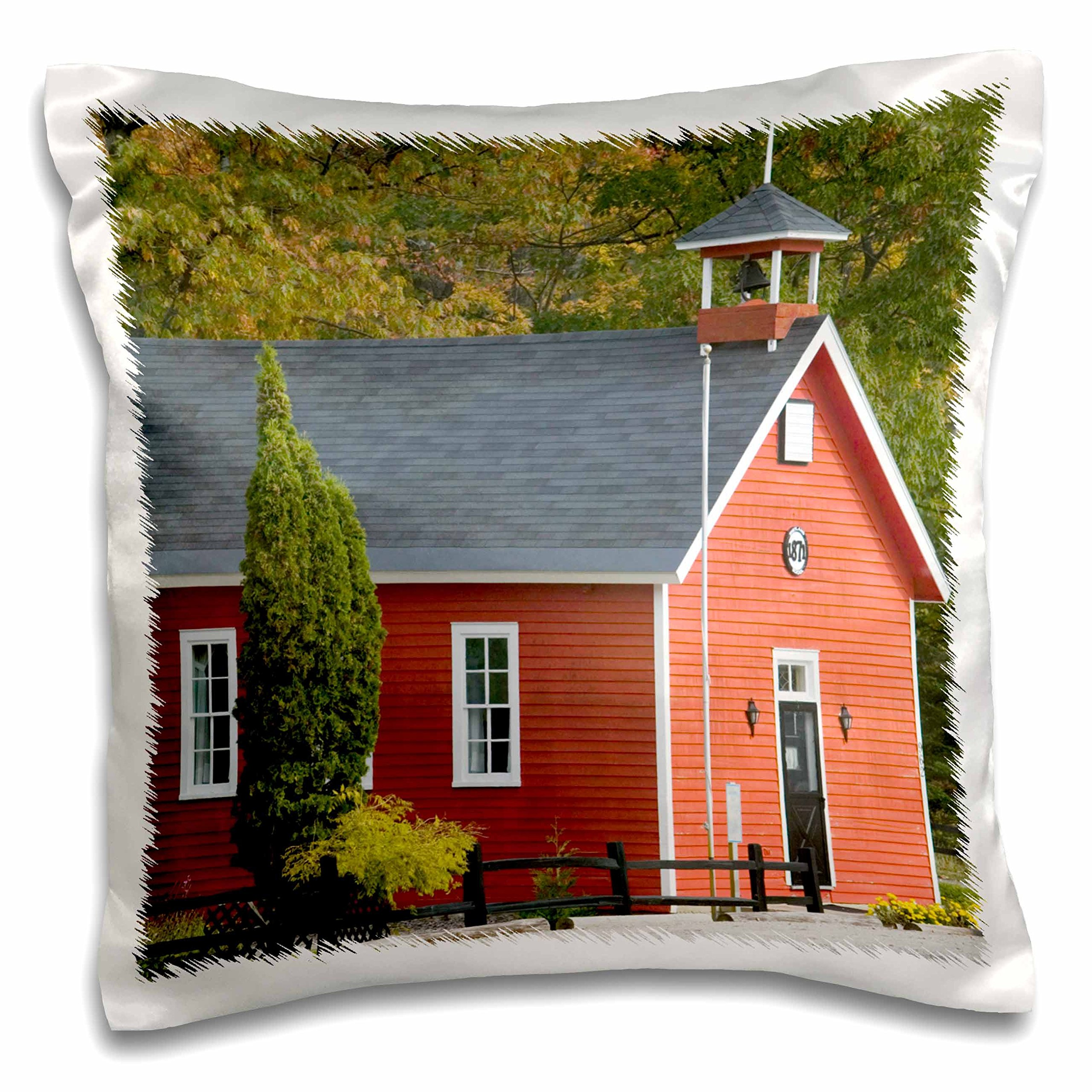 3dRose Michigan, Lake Michigan, Shetland Schoolhouse - US23 WBI0354 - Walter Bibikow - Pillow Case, 16 by 16-inch (pc_91265_1)