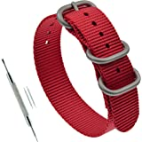 Nylon Thick Watch Band Strap Replacement 3 Rings (18mm 19mm 20mm 21mm 22mm 23mm 24mm)