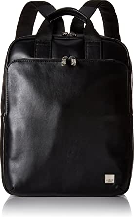 """Knomo Brompton Classic Dale, 15"""" Leather Tote Backpack, with Suitcase Slip Pocket and RFID Pocket, Black"""
