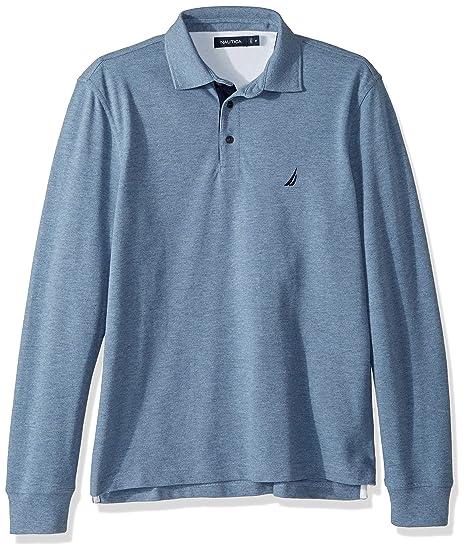 Nautica Mens Long Sleeve Solid Polo Shirt