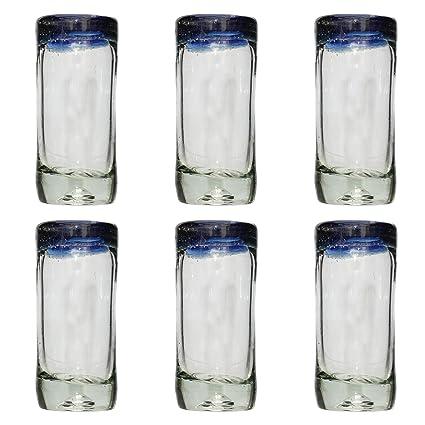 Vaso de Chupito/Tequila Artesanal – Vidrio Reciclado - Borde azul – Juego de 6