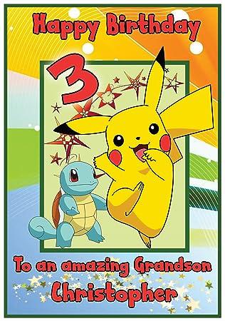 Personalised pokemon pikachu inspired birthday card boy amazon personalised pokemon pikachu inspired birthday card boy bookmarktalkfo Gallery