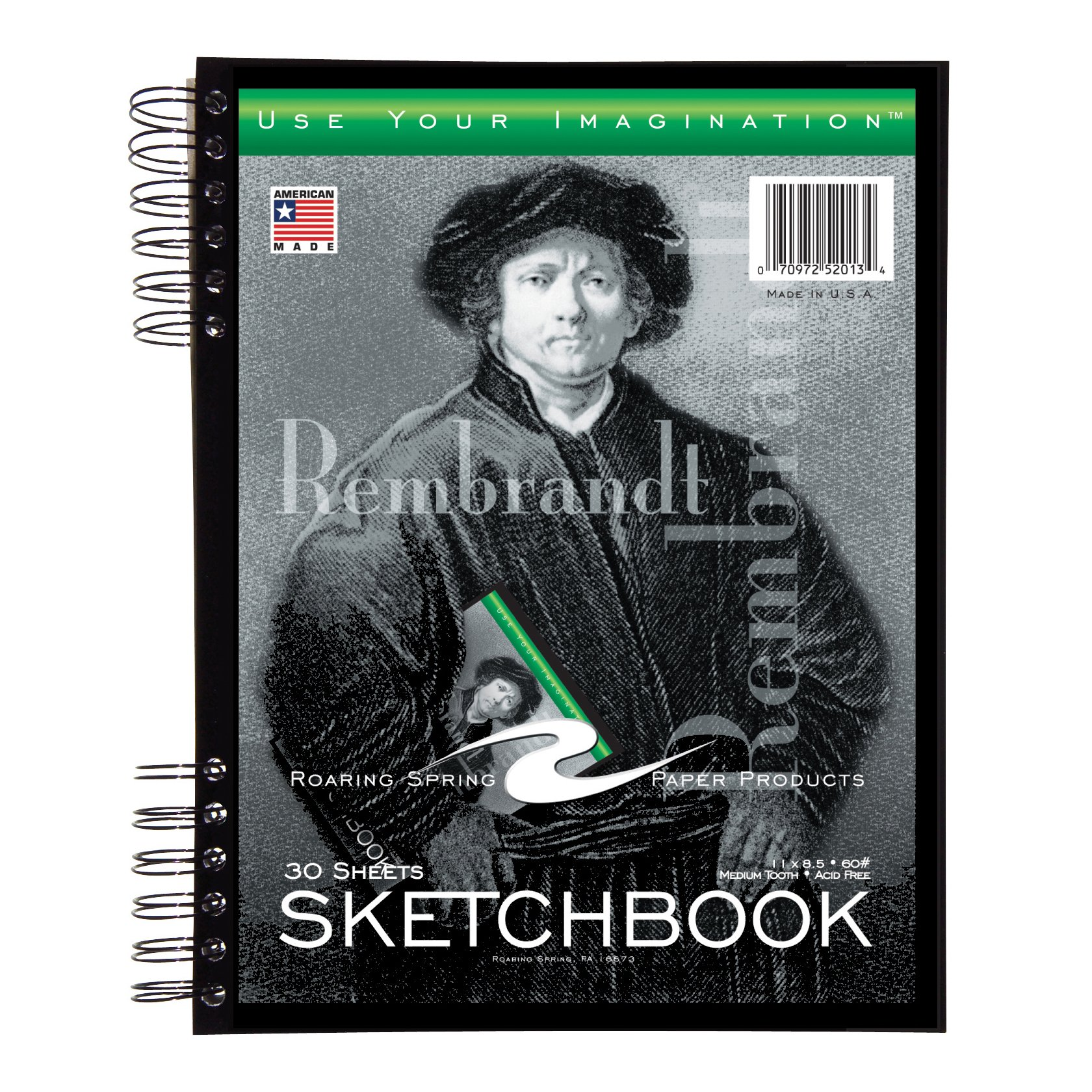 Roaring Spring Sketch Book with Pocket, 11 x 8.5 Inches, 30 Sheets