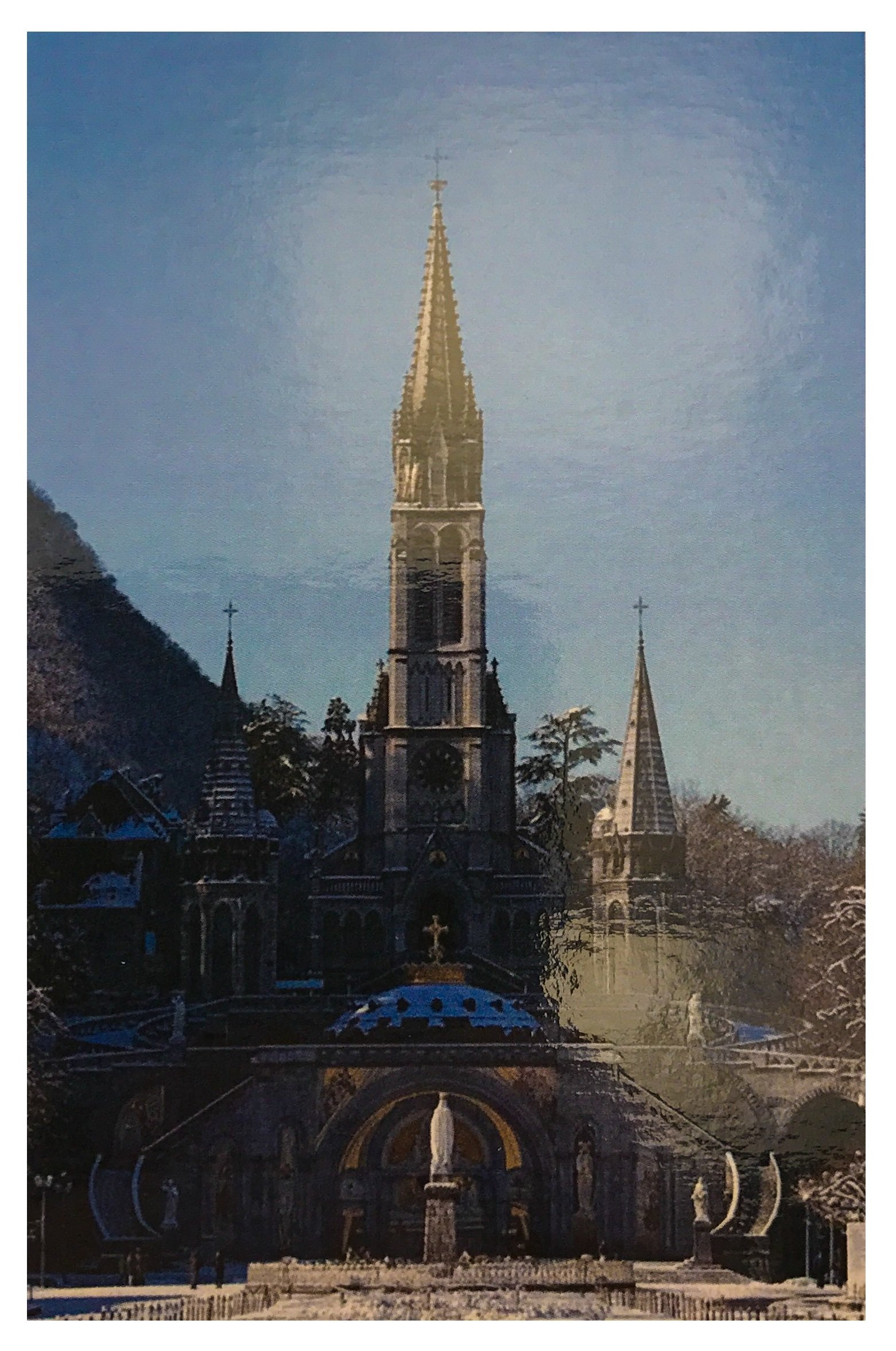LOURDES WATER from the Grotto in a Beautiful Large Bottle & Lourdes Prayer Card