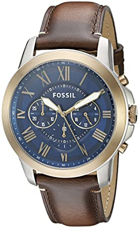 ca5ec30a58aa2 Amazon.com  Fossil Men s FS5150 Grant Chronograph Dark Brown Leather ...