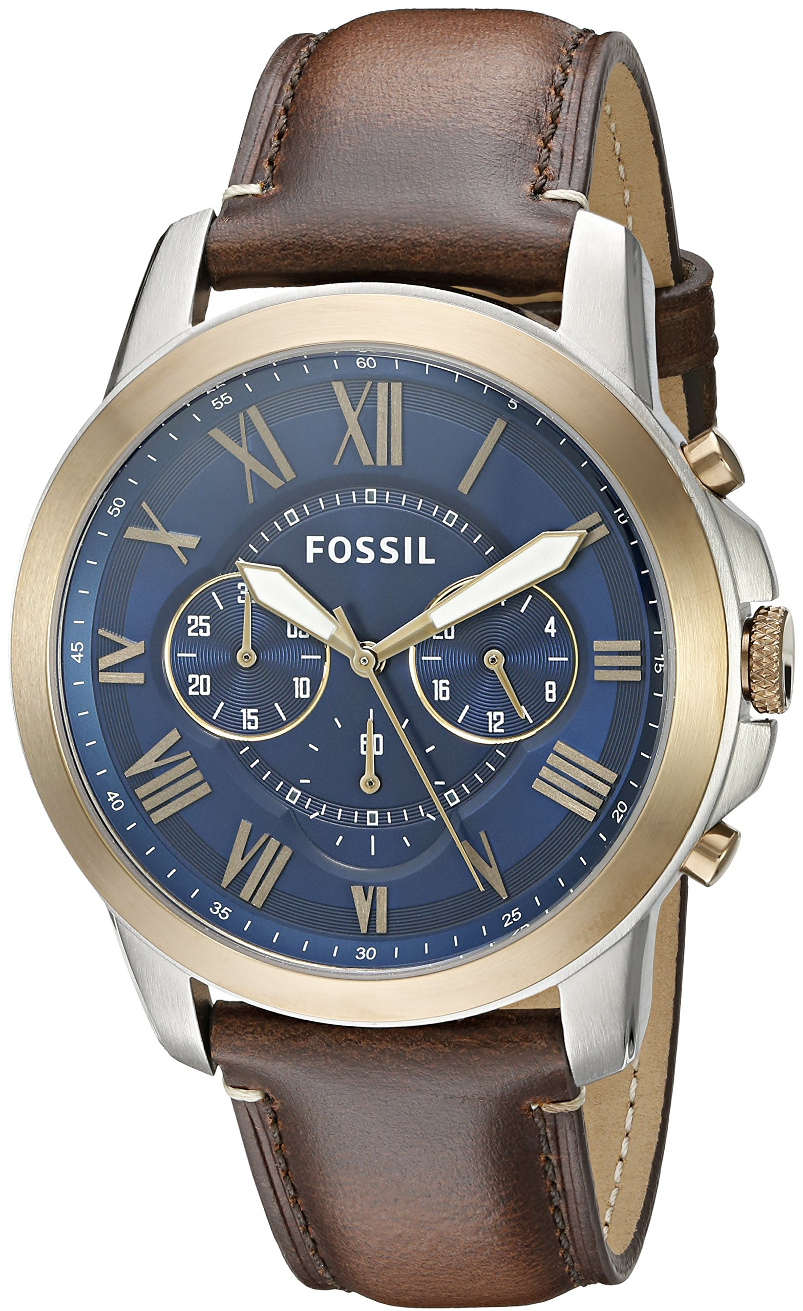 Fossil Men's FS5150 Grant Chronograph Dark Brown Leather Watch by Fossil