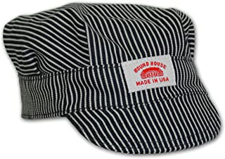 product image for Round House Train Conductor Hickory Striped Engineer Hat - Child - Made in USA
