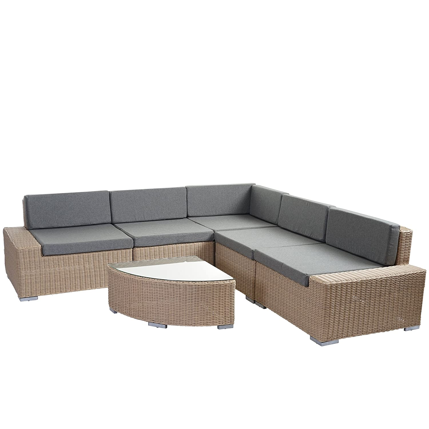 poly rattan garnitur sora gartengarnitur sitzgruppe lounge set alu hellbraun halbrundes. Black Bedroom Furniture Sets. Home Design Ideas