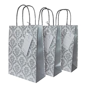 Wedding Gift Bags With Luxury Damask Design Silver Panel And Just Married Label