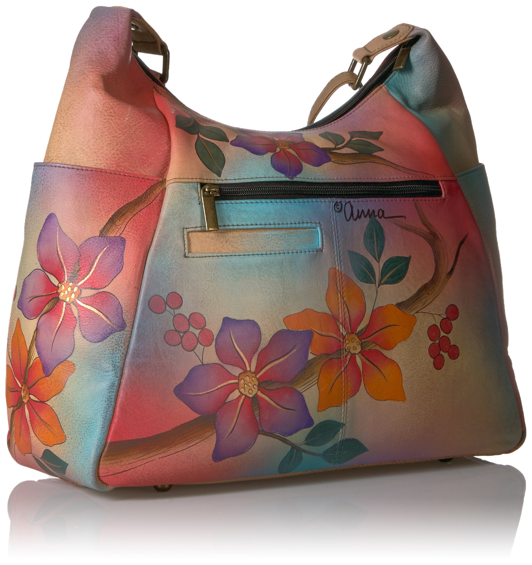 Anuschka Anna Handpainted Leather Large Multi Pocket Hobo, Bird on a Branch by ANUSCHKA (Image #2)