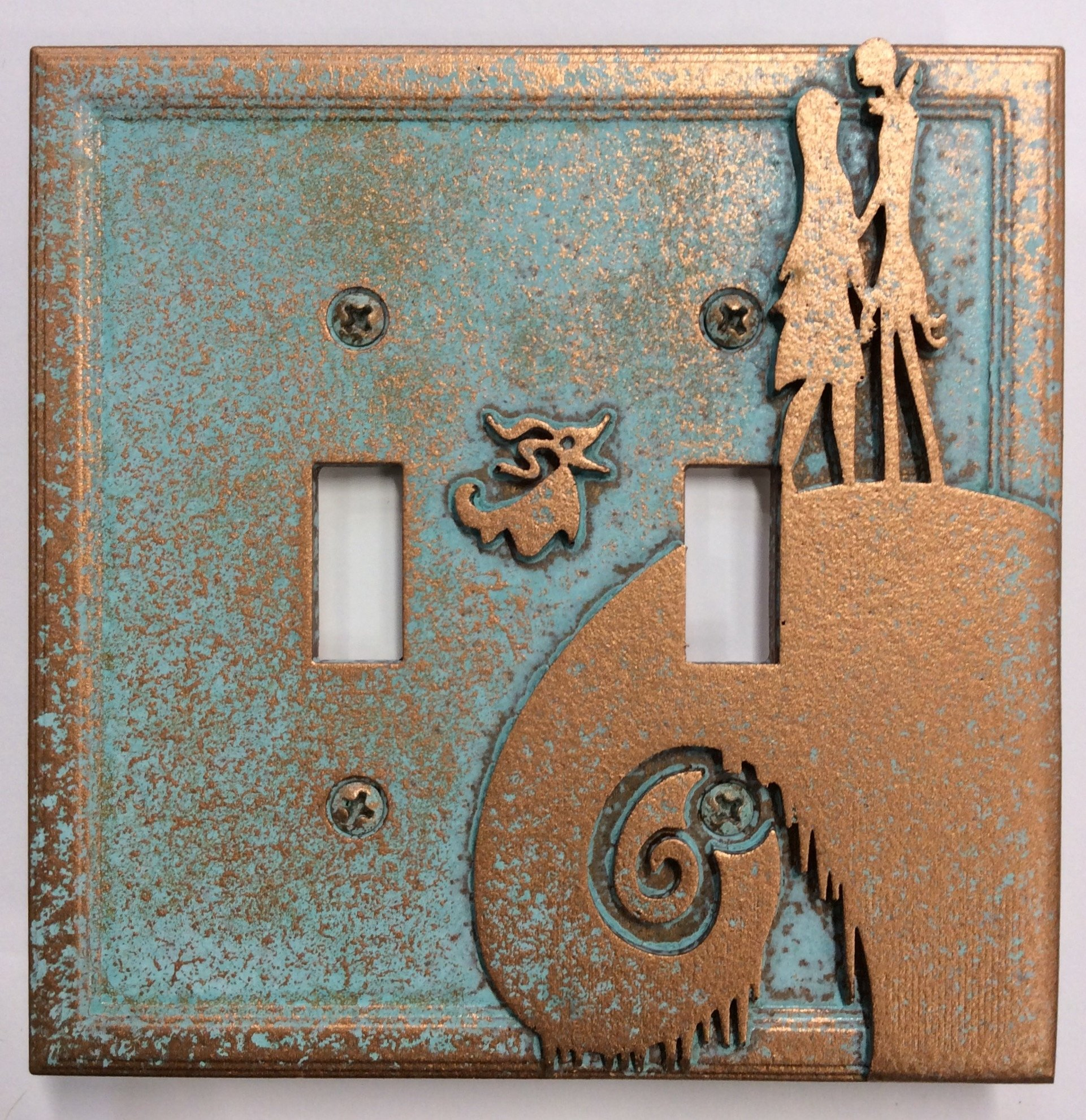 Nightmare Before Christmas - Double Light Switch Cover (Aged Patina)