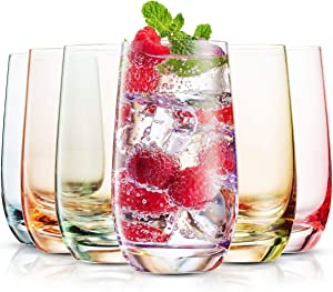 MITBAK 13- OZ Colored Highball Glasses (Set of 6) | Lead Free Drinking Glasses Tumblers for Mixed Drinks, Water, Juice beer, cocktail | Glassware Set, Excellent Gift | Made in slovakia
