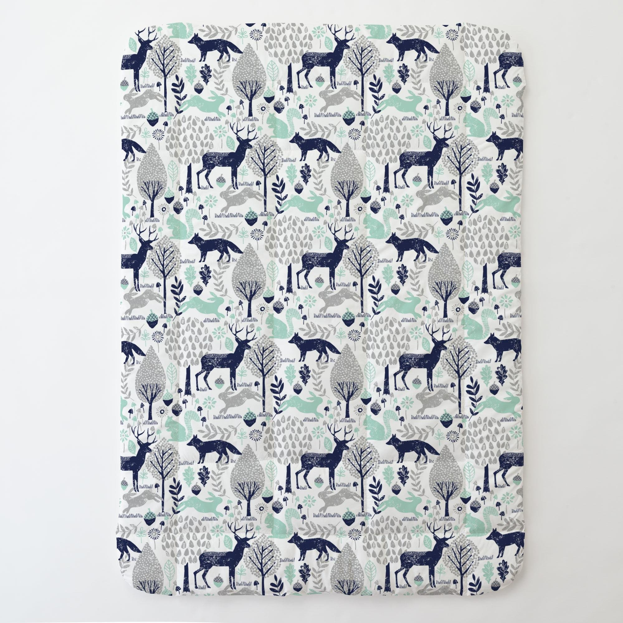 Carousel Designs Navy and Mint Woodland Animals Toddler Bed Comforter by Carousel Designs (Image #1)
