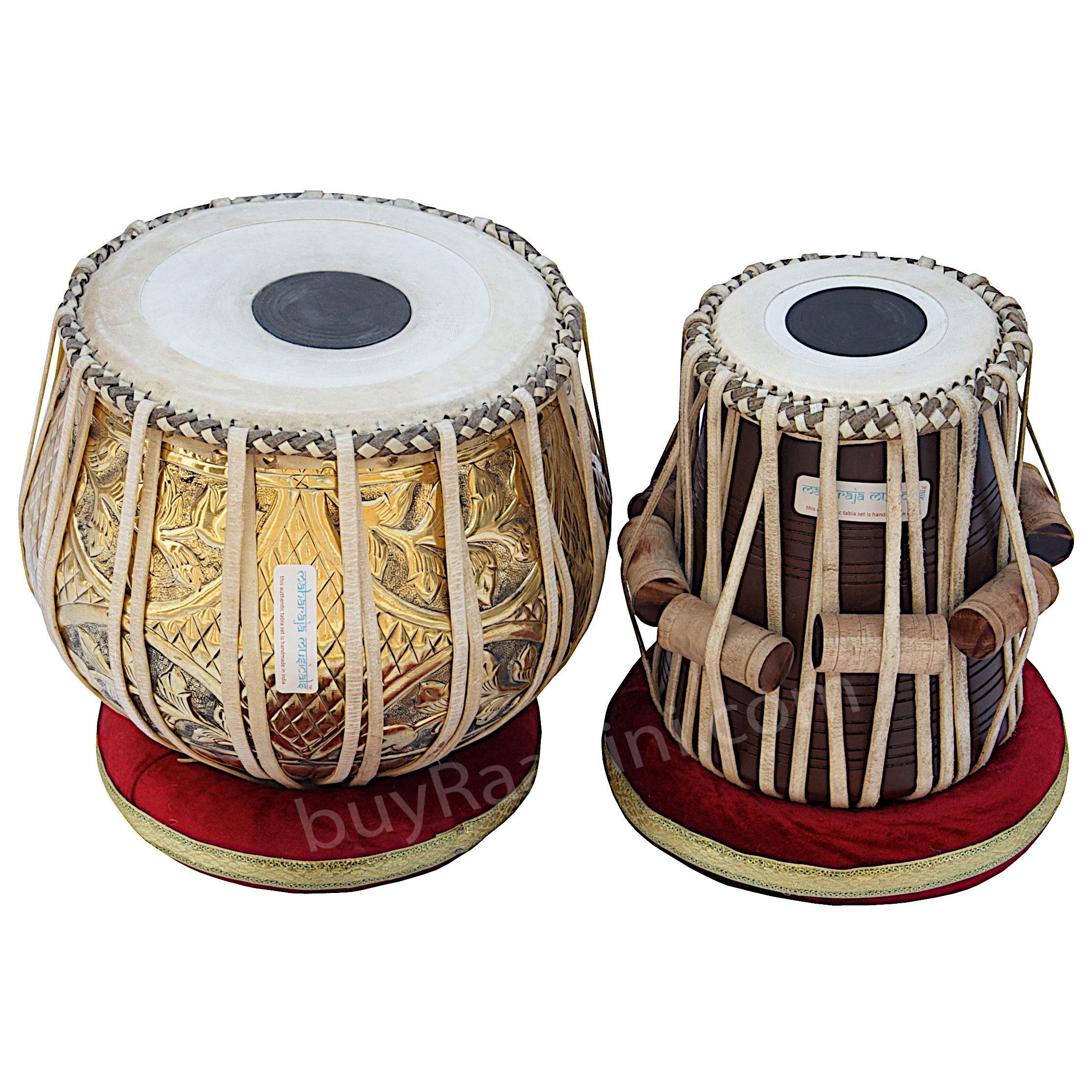 Tabla Set, Maharaja Musicals, 3.5 Kg Designer Golden Brass Bayan, Sheesham Tabla Dayan, Professional Drums, Padded Bag, Book, Hammer, Cushions, Cover, Tabla Drums Indian (PDI-FG) by Maharaja Musicals (Image #2)