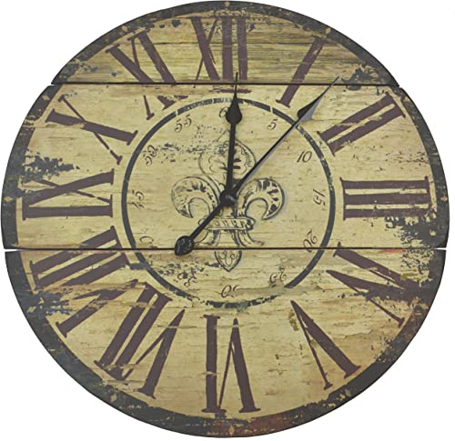 Lulu Decor, Fleur De Lis Wood Wall Clock, Rustic Round Clock 23.5 with Roman Numerals for Living Room Office Space