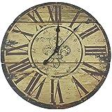 "Lulu Decor, Fleur De Lis Wood Wall Clock 23.50"" (Rustic)"