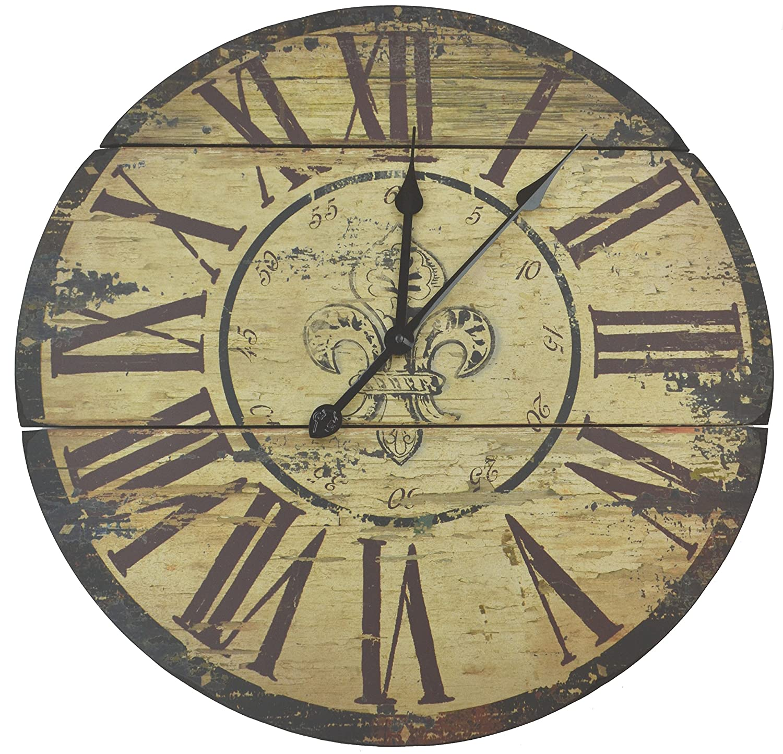 Am americana country wall clocks - Amazon Com Lulu Decor Fleur De Lis Wood Wall Clock 23 50 Rustic Home Kitchen