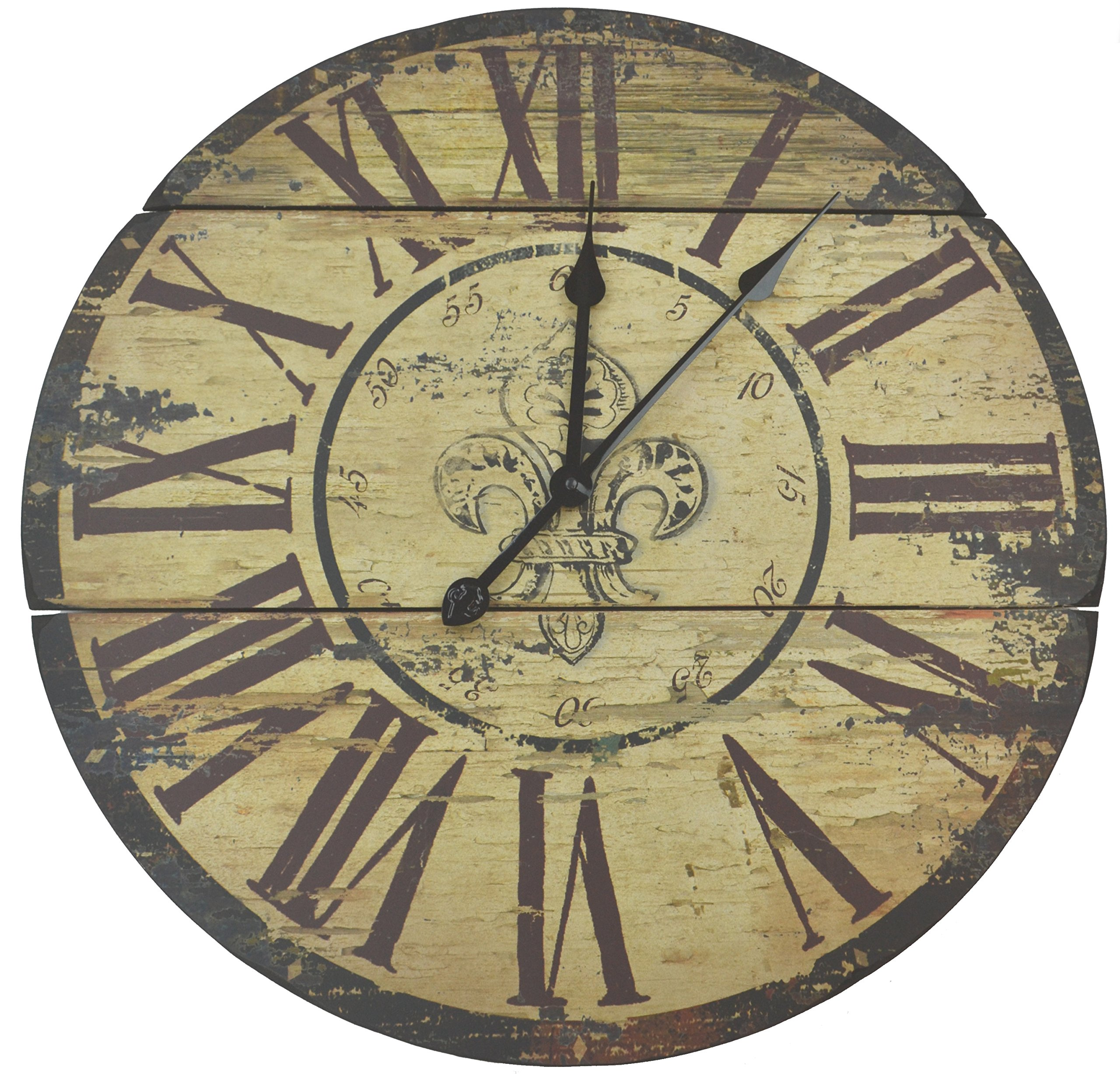 """LuLu Decor, Fleur De Lis Wood Wall Clock, Rustic Round Clock 23.5"""" with Roman Numerals for Living Room & Office Space"""