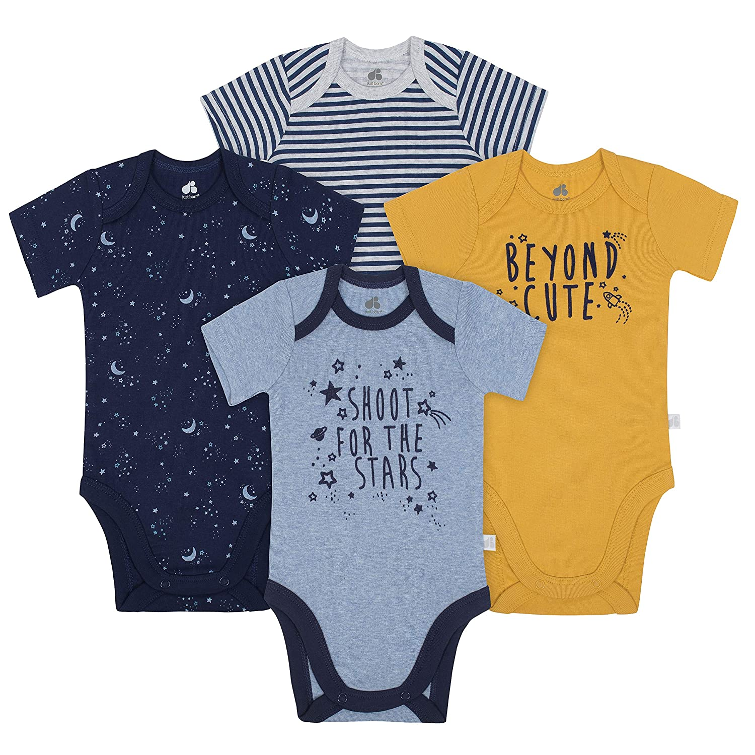 Just Born Baby Boys 4-Pack Organic Short-Sleeve Bodysuits