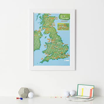 Scratch Off Uk Golf Courses Print Poster Gift For Golfers White
