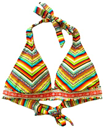 ecd2e10495 Amazon.com: Lucky Brand Women's Santiago Sunrise Banded Halter Bikini Top  Sunrise M: Clothing