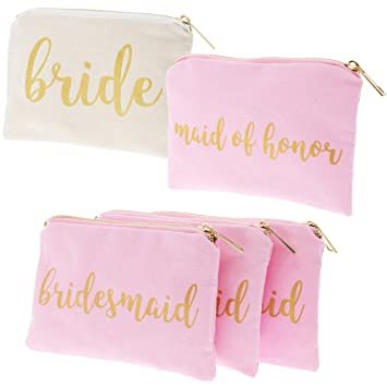 b41633ba27b5 Bridal Shower Makeup Bag - 5-Pack Cosmetic Pouches for Wedding Favors,  Bachelorette Party Gifts,...